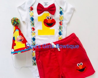 Elmo 1st First Birthday Outfit Boys Cake Smash Suspenders Hat Bow Tie Shorts 9 12 18 24 Photo Prop Sesame Street Party