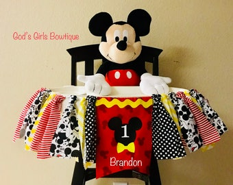 Mickey Mouse Birthday Photo Prop Highchair Rag Ribbon Banner 1st For Invitations Party