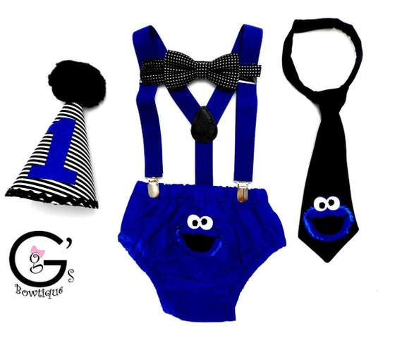 Cookie Monster Birthday Outfit Cake Smash Blue Suspenders Neck Tie Costume Bow Tie Hat 9 12 18 24 Photo Prop
