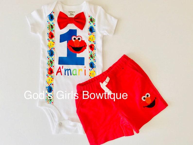 53b66c15c Elmo 1st First Birthday Outfit Boys Cake Smash Suspenders Bow   Etsy
