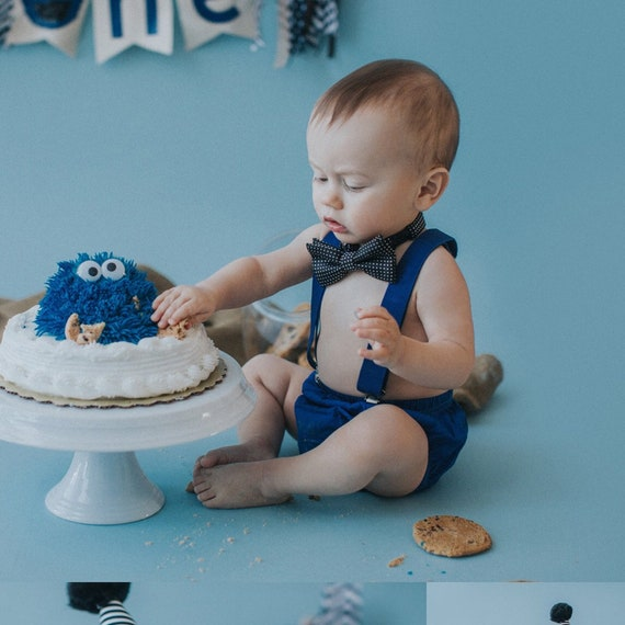 Terrific Cookie Monster Suspender 1St Birthday Smash Cake Party Outfit Etsy Funny Birthday Cards Online Elaedamsfinfo