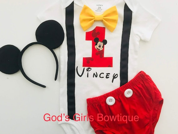 Mickey Mouse 1st Birthday Outfit.Mickey Mouse 1st Birthday Shirt Birthday Outfit Costume Smash Cake Party Outfit Invitation Photo Prop Bow Tie Hat Boys Bottoms Free Ears
