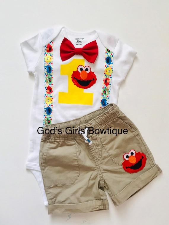 Fine Elmo 1St First Birthday Outfit Boys Cake Smash Blue Suspenders Etsy Personalised Birthday Cards Epsylily Jamesorg