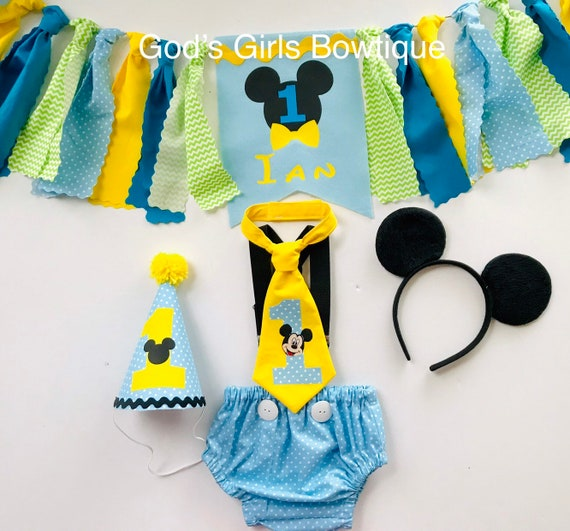 Awesome Baby Blue Mickey 1St First Birthday Outfit Mickey Mouse Etsy Funny Birthday Cards Online Necthendildamsfinfo