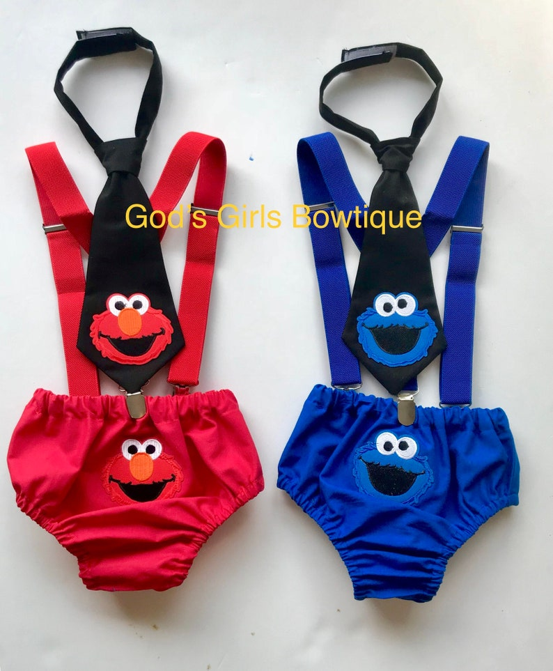 2a08822c90 Cookie Monster OR ELMO Birthday Outfit Sesame Street Smash | Etsy