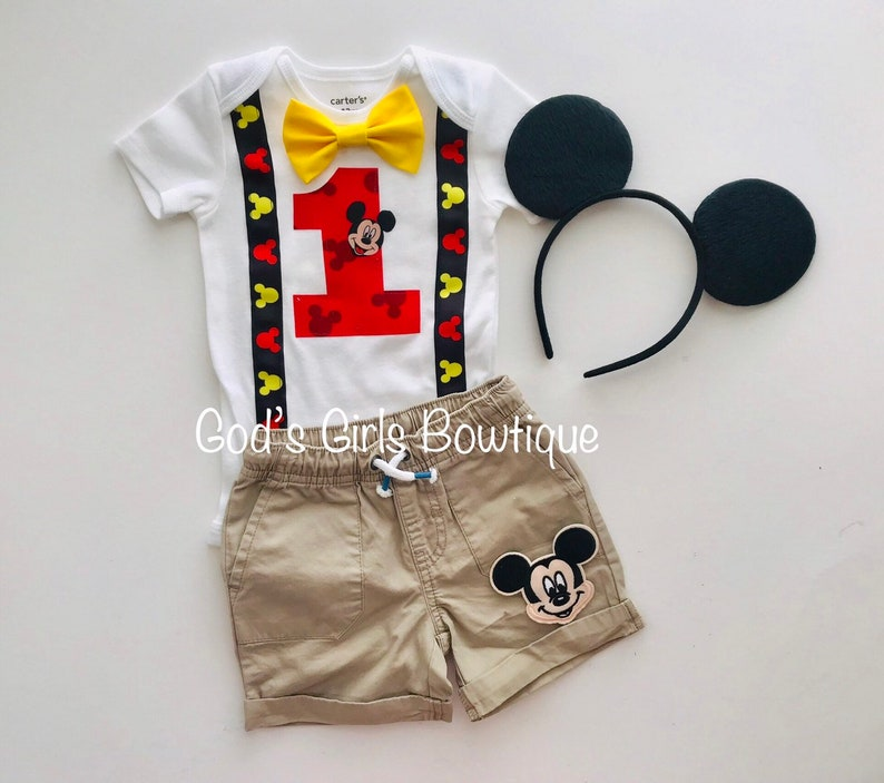 Disney Mickey Mouse First Birthday Tshirt 1st One Outfit Boys Girls Age Top 1 Am