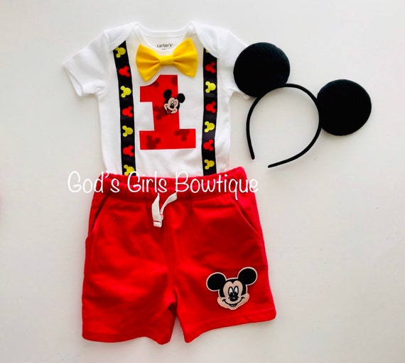 Mickey Mouse 1st Birthday Outfit.Mickey Mouse 1st First Birthday Outfit Boys Cake Smash Suspenders Bow Tie Shorts 12 18 24 Photo Prop Clubhouse Party Free Ears