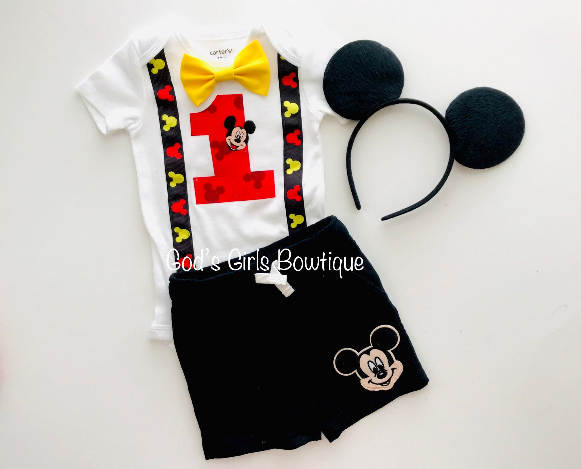 711bc4ab8 Mickey Mouse 1st First Birthday Outfit Boys Cake Smash | Etsy