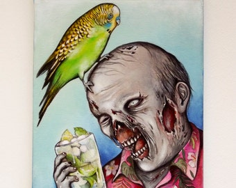 Zombie drinking mojito original painting on canvas – zombie art, horror décor, kitsch art