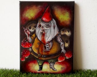 Zombie gnome original acrylic painting on canvas