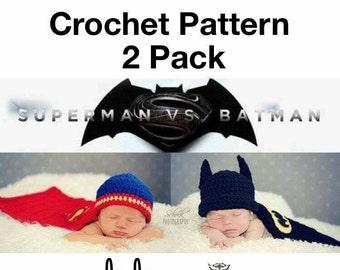Batman vs Superman Sets - 2 PACK PATTERN ONLY - Crochet - Size Newborn to 12 month