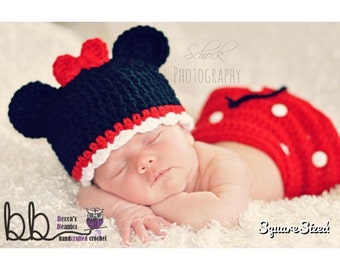 Minnie mouse Newborn 3 piece set - crochet - made to order