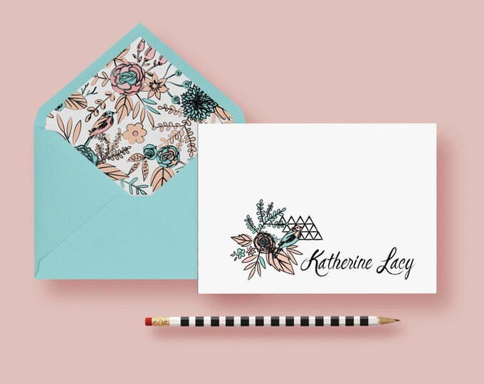 Featured listing image: Traditional Floral With Geometric Twist Stationery—Personalized Notes—Custom Note Cards—Birthday Gift—Printable or Printed—FREE SHIPPING
