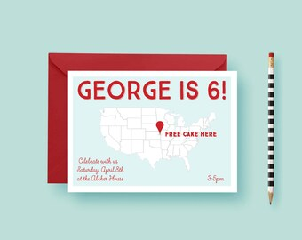 Treasure Map Party Invite Birthday United States Printable Invitation Templates Printed FREE SHIPPING