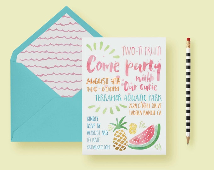 Featured listing image: Fruit Themed Party Invite - Two Year Old Birthday Party Invitation - Summer Invite - Pineapple, Watermellon, Lemon - Printable or Printed