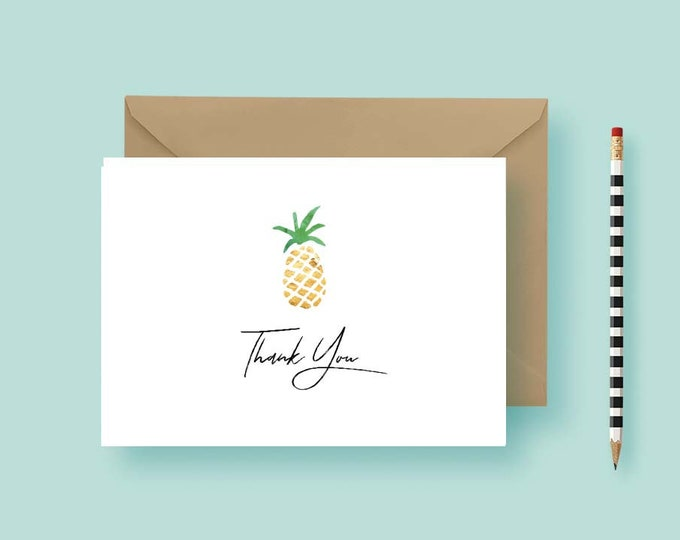 Featured listing image: Pineapple Personalized Stationery - Personalized Note Cards - Custom Note Cards - Birthday Gift - Printable or Printed - FREE SHIPPING