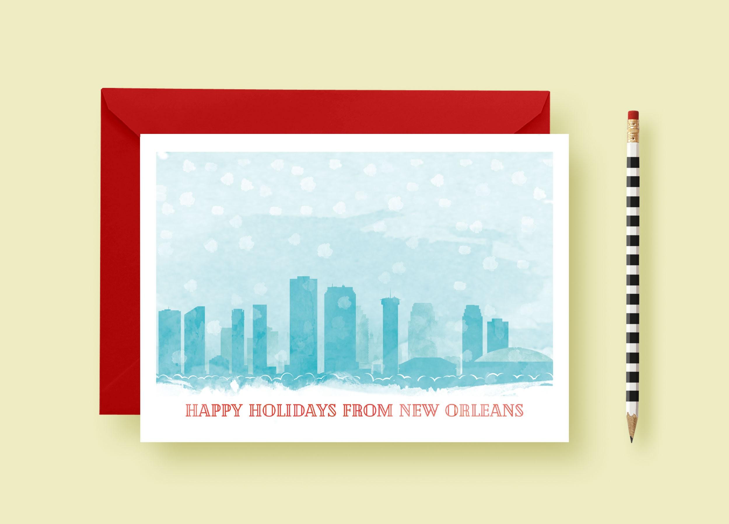 Watercolor Cityscape Christmas Custom Cards, Christmas Card Template ...