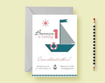 Kids Nautical Birthday Party Invitation—Nautical Birthday Invite—Boating, Sailboat, Anchor, Water—Printable or Printed—FREE SHIPPING