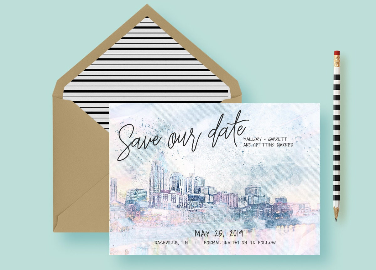Nashville Save The Date Template No Photo Save The Date Rustic