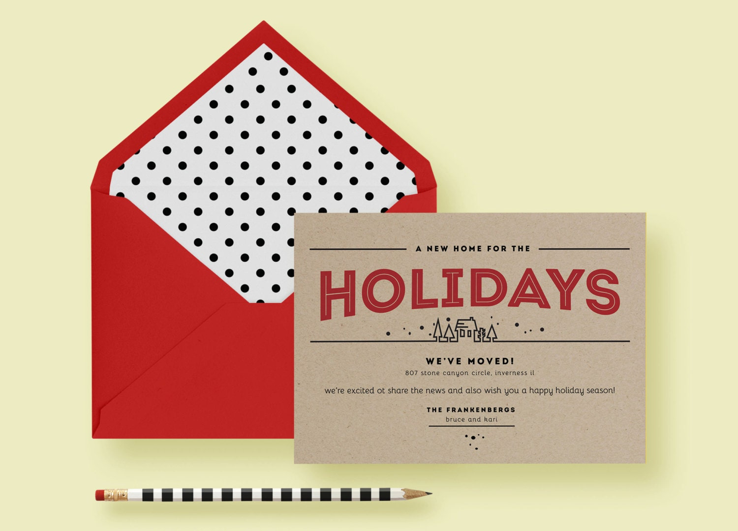 Kraft Paper Modern Holiday Moving Card—Invite Template—Christmas ...