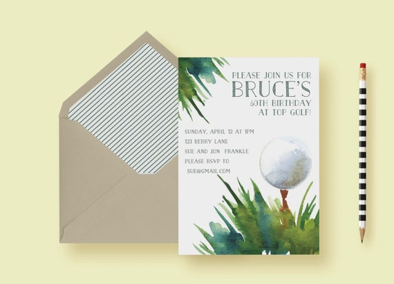 Golf Themed Birthday Party Invitation Outing Tournament