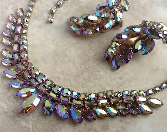 Vintage Large AB Rhinestone Choker Necklace Earclimber Clip On Earrings