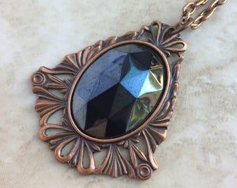 Vintage Solid Copper Large Imitation Hematite Medallion Victorian Style Necklace