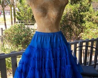 5d6c7d8cc4f9 Vintage Bright Blue Petticoat Slip Square Dance Skirt