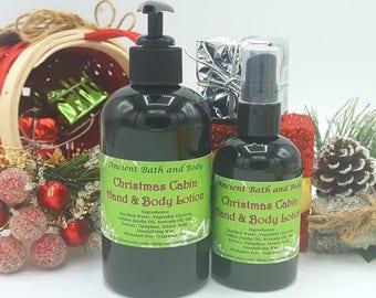 Christmas Cabin Lotion, Organic Lotion, Christmas Lotion, Christmas Gift, Lotion Gift, Bath Set, Bath Gift