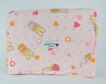 Baby Receiving Blanket- Pink Bunny