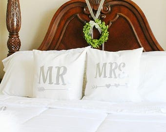 Mr. & Mrs. Pillow Covers - 1 Set (INSERT NOT INCLUDED)