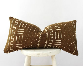 THE WESA 12X24 African Mud Cloth Lumbar Pillow Cover
