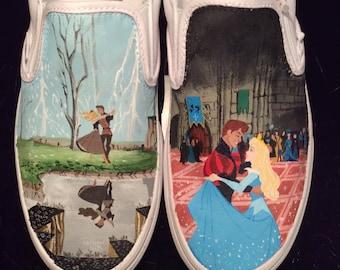 Sleeping Beauty Custom Painted Vans