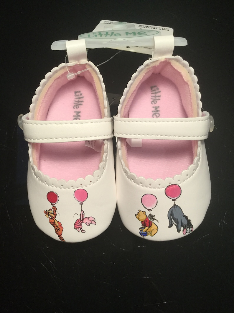 ee519bd4ed2b Custom Pooh and Friends Hand Painted Baby Shoes