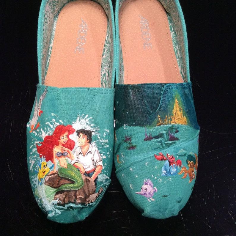 019f42b493e Little Mermaid Inspired Custom Hand Painted TOMS
