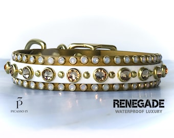gold and white dog collar biothane dog collar padded dog collar 1.5x16-19 Holiday Madonna waterproof dog collar gold dog collar