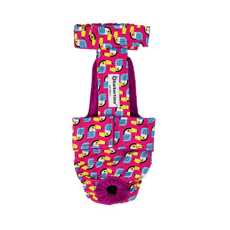 Toucan on Pink Escape-Proof Washable Dog Diaper Overall Washable Dog Diaper