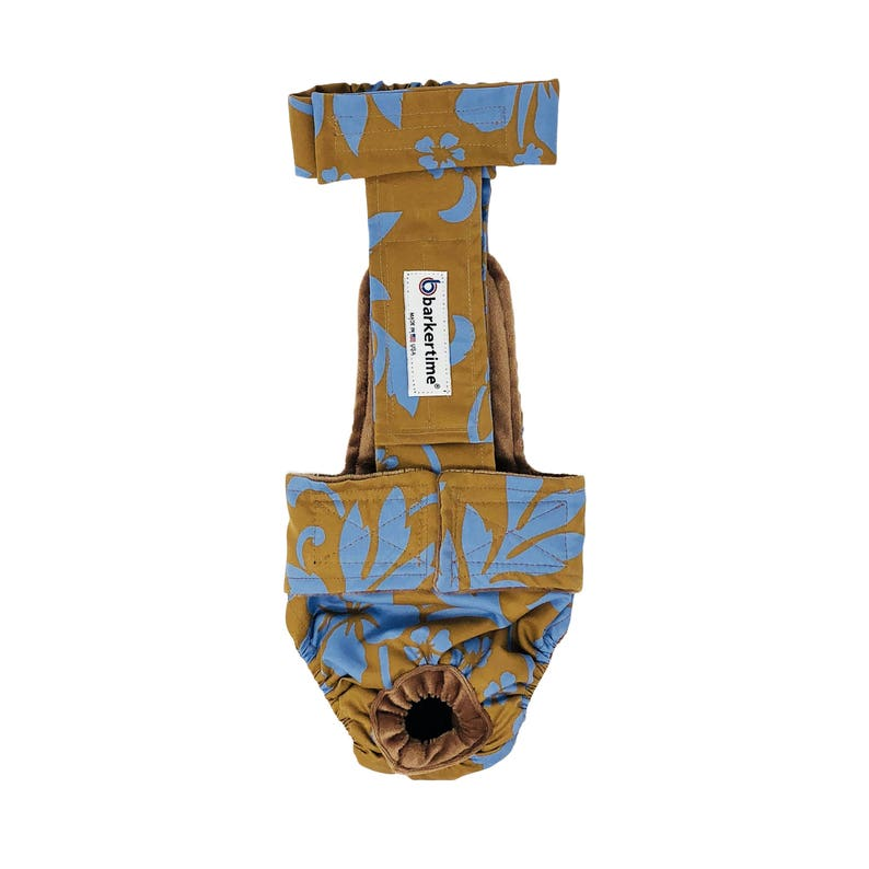 Blue Hawaiian Hibiscus Flower on Brown Escape-Proof Washable Dog Diaper Overall Washable Dog Diaper