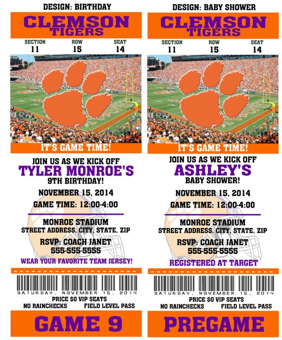 Printable Birthday College Clemson  Party Football Tigers