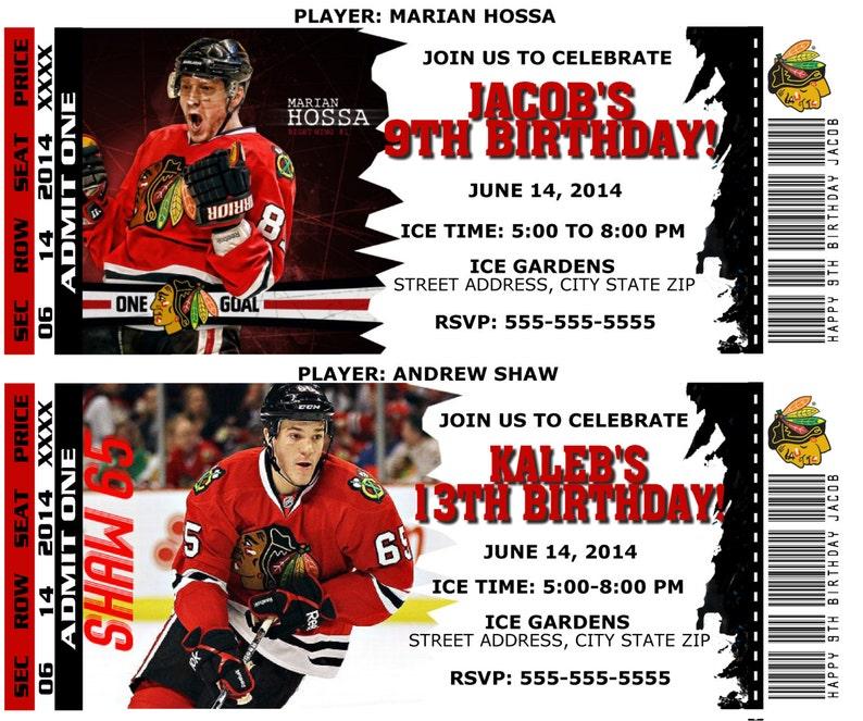 Printable Birthday Party Invitation Card Chicago Blackhawks Etsy