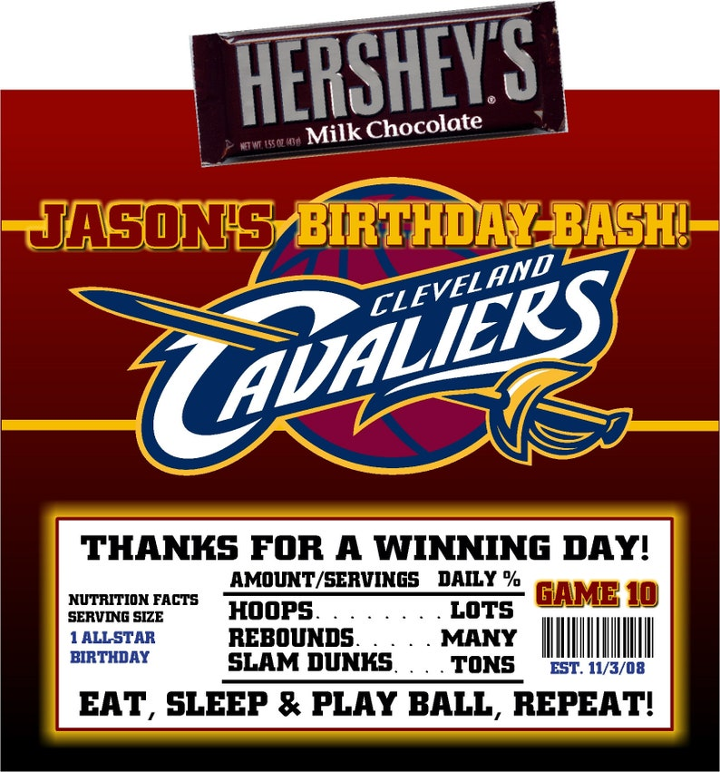 picture regarding Cleveland Cavaliers Printable Schedule called Printable Cleveland Cavaliers Sweet Bar Wrappers Basketball Birthday Bar Mitzvah Hershey Chocolate Get together Favors