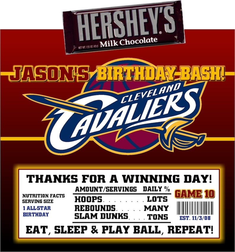 photograph about Cavs Printable Schedule titled Printable Cleveland Cavaliers Sweet Bar Wrappers Basketball Birthday Bar Mitzvah Hershey Chocolate Occasion Favors
