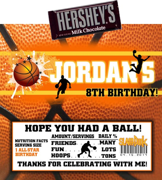 BASKETBALL BIRTHDAY PARTY Favors Hershey Chocolate Candy Bar Wrappers