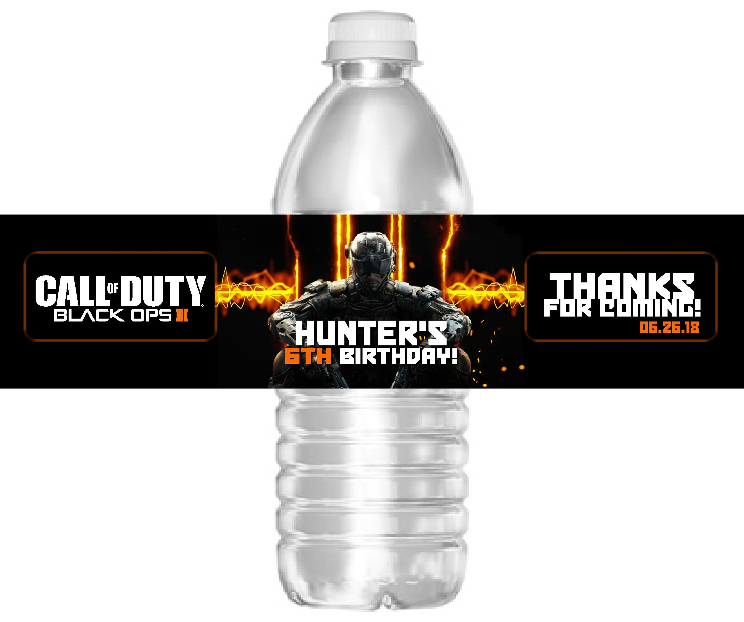Printable Call of Duty Black Ops 3 Birthday Party Water Bottle   Etsy