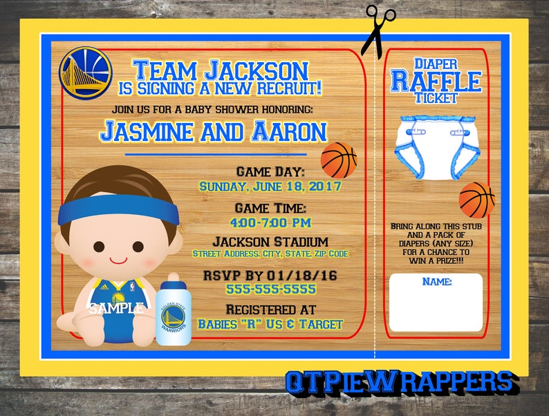 picture relating to Golden State Warriors Printable Schedule identify Printable Golden Region Warriors Basketball Youngster Shower Invites Boy Custom made hooked up Diaper Raffle Ticket