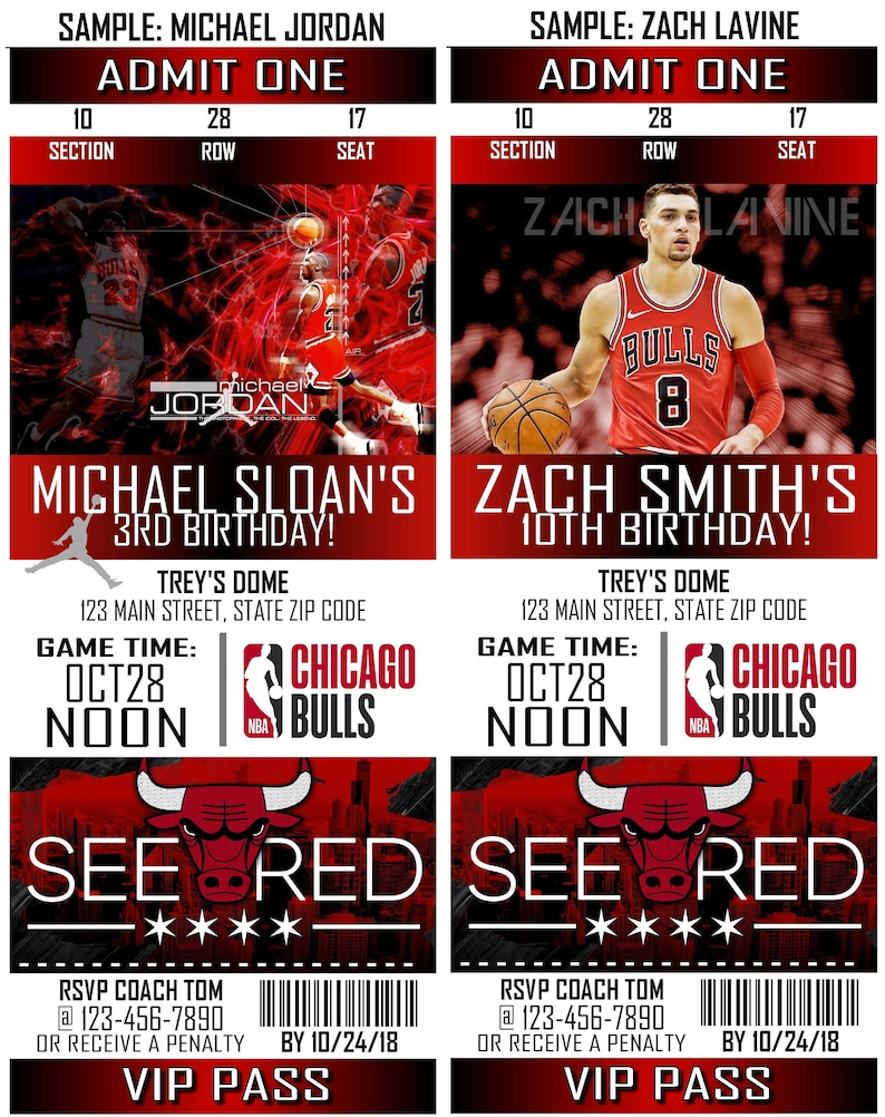 image about Chicago Bulls Schedule Printable named Printable Birthday Get together Invitation Chicago Bulls Birthday Ticket Invitation Basketball Weddings Boy or girl Showers Bar Mitzvahs