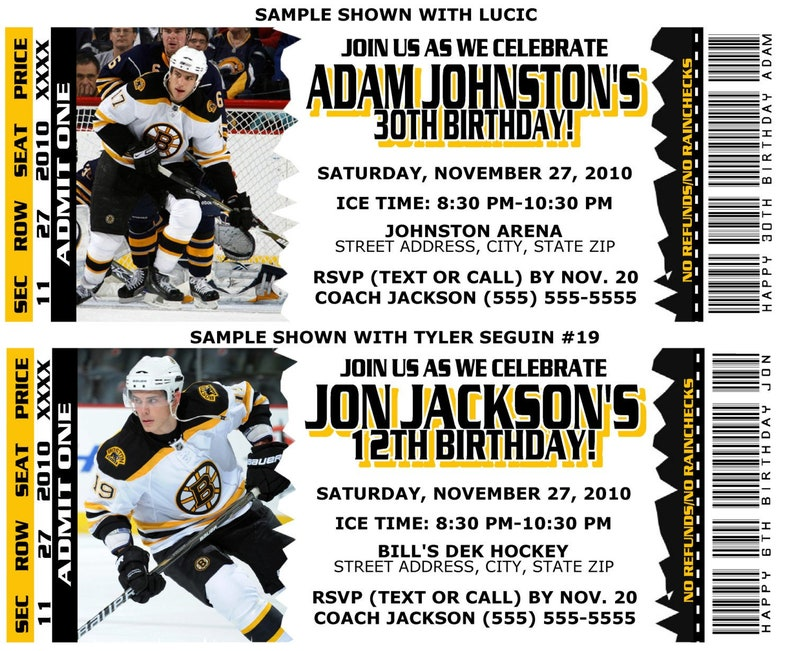 picture about Boston Bruins Printable Schedule called Printable Birthday Social gathering Invitation Card Boston Bruins Birthday Ticket Invitation NHL Hockey Weddings Boy or girl Showers Bar Mitzvahs