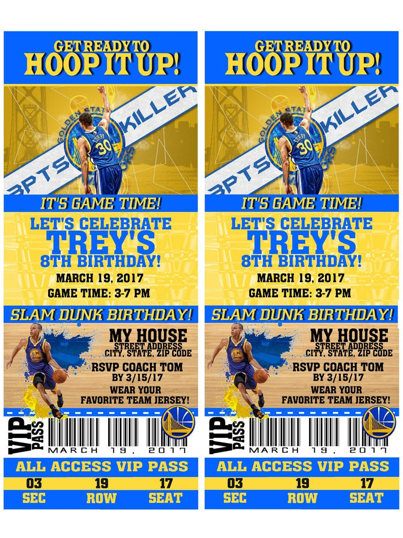image about Warriors Schedule Printable called Printable Birthday Bash Invitation Golden Country Warriors Basketball Birthday Ticket Invitation Boy or girl Showers Bar Mitzvahs Stephen Curry
