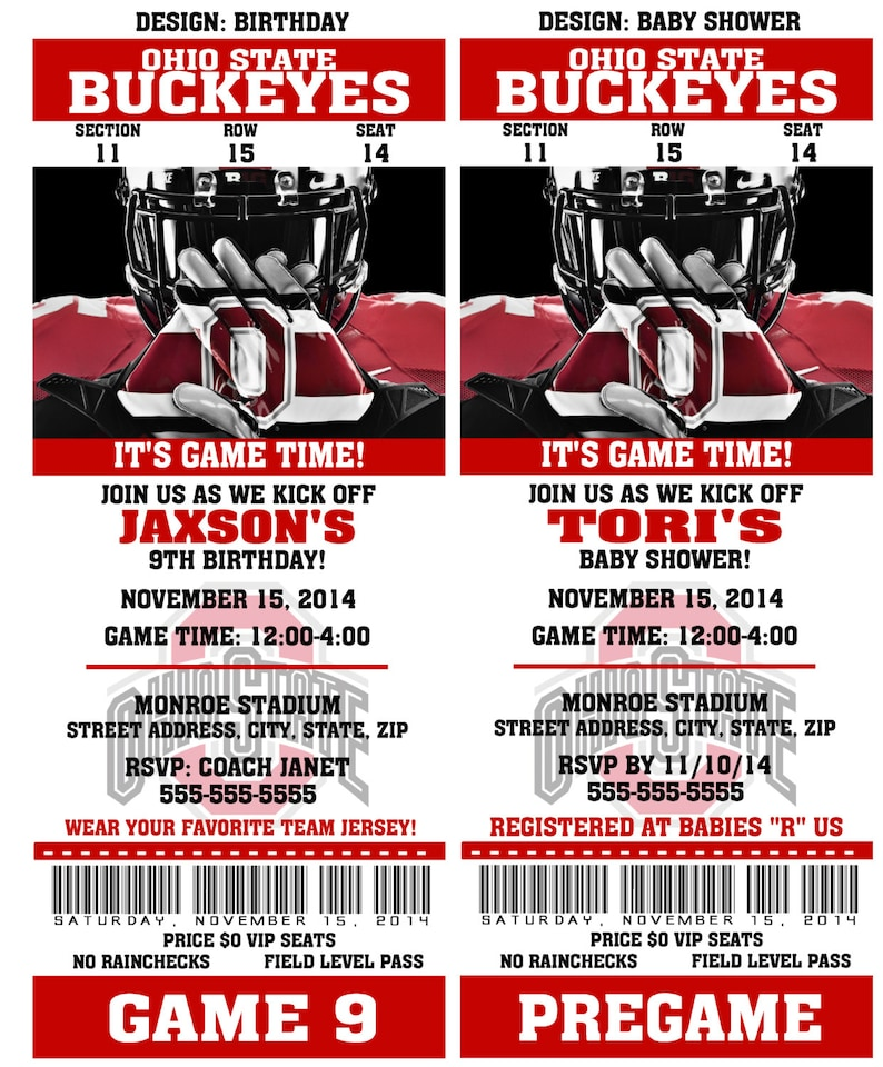 picture about Ohio State Football Schedule Printable identified as Printable Ohio Nation Soccer Birthday Bash Invitation NCAA Ticket Invitation Boy or girl Shower Invites