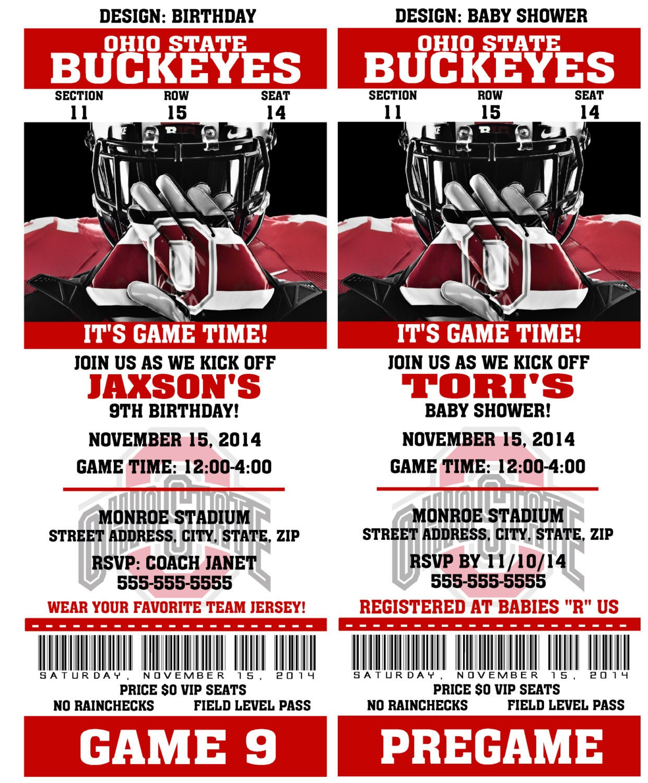Printable Ohio State Football Birthday Party Invitation NCAA | Etsy